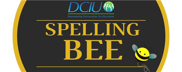 "Spelling Bee banner (DCIU logo, the words ""Spelling Bee,"" and a cartoon image of a bee"