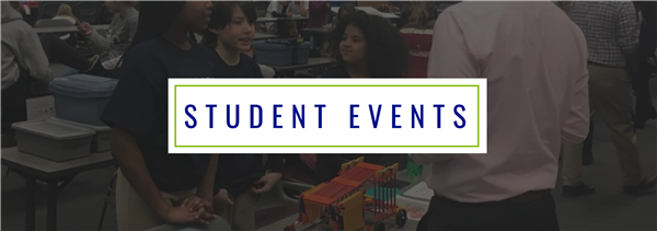 Student Events header; background image shows students explaining their project at the STEM Design Challenge