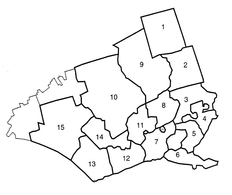 County map w each school district identified